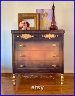SOLD Antique Painted Dresser. Refinished Chest of Drawers. French Country Farmhouse Furniture. Purple Coral Orange Yellow Bohemian Dresser