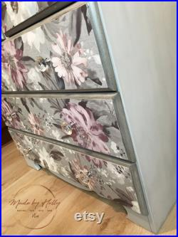 SOLD Floral Pine Chest Of Drawers, Pine Furniture, Pine Drawers, Floral Furniture, Grey, Purple, White Hand Painted.