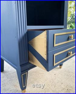 SOLD Navy and Gold Mid Century Modern Chic Night Stand or End Table