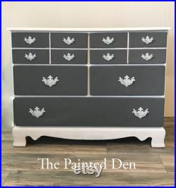 SOLD Vintage Gray and White Dresser