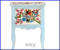 Shabby Chic Nightstand, French Country Bedside Table, Floral Painted Night Table, Small Bedside Cabinet, Bedroom Lamp Stand Table