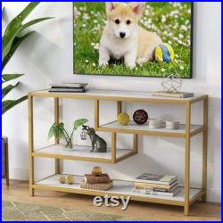 Sofa Entry Table, 3-Tier Gold Console Table with Faux Marble Veneer for Living Room Entryway