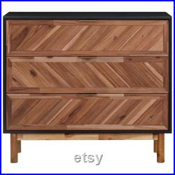 Solid Acacia Wood and MDF Sideboard 90x33.5x80 cm Chest of Drawers