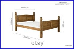 Solid Pine Bed High Footboard Stylish Black Stud Detailing Solid Slatted Base 4ft 4ft6 5ft Size Options Flat Packed