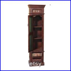 Solid Wood Antique Glass Old Window Refurbished Armoire Tall Cabinet Tall Storage Cabinet Tall Corner Cabinet Tall Accent Cabinet