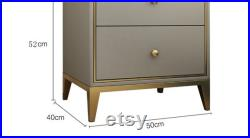 Solid Wood Iron Bedside Table Art Luxury Style Ins Simple Modern Drawer Leather Art Storage Designer Bedside Table L-5