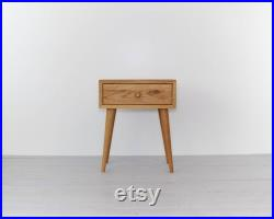 Solid oak Nightstand natural oiled, Table with drawer, Mid Century Modern Furniture, Bedside, Bedroom furniture, Scandinavian style NO-02-EN