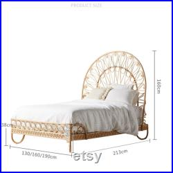 Southeast Asia rattan art rattan bed Indonesia creative bedroom Hotel double bed-5