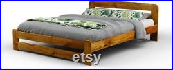 Super King Size Solid Wooden Pine Bedframe F1 with slats and extra four supportive legs(6ft, oak)