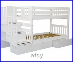 Tena Twin Over Twin Bunk Bed with 5 Drawers