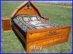 The Cabin Bed Unique, 3 Dimensional Bed made from Repurposed Barn Wood Complete Set with 2 Nightstands Full, Queen or King