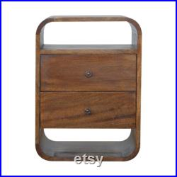 This 100 Solid Structure Mango Wood Chestnut Curved Edge with 2 Drawers Bedside Tables Crafted By Handmade Assembled FREE Shipping UK