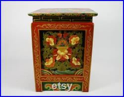 Traditional Tibetan Reproduction Bedside Cabinets (Set Of 2) Made In Nepal