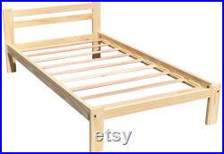 Twin Wooden Bed Frame Unfinished Amazonas Single Bed Easy to Assemble Solid Pine Wooden Bed Frame