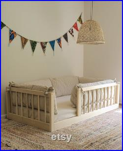 Twin or Full Size Montessori Floor Bed to Raised Bed Frame Convertible With Rails Full Floor Bed Hardwood 4 Railing Legs Slats