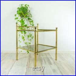 Two-tier 1980s BRASS SMOKED GLASS Nightstand or Side Table