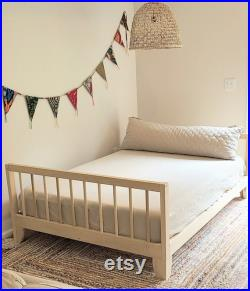 USA made Full or Twin Montessori Floor Bed to Raised Bed Convertible With Rails Hardwood 4 Railing Legs Slats