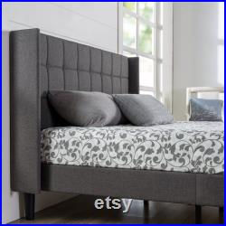 Unique Upholstered Square Stitched Wingback Platform Bed Mattress Foundation Easy Assembly Strong Wood Slat Support Bedroom Decor