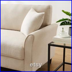 Upholstered Sofa Couch for Living Room, Mid-Century 85 Sofa Couch Modern Linen Fabric Loveseat Couch