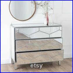 Urban Deco Honeycomb Mirrored 3 Drawer Wide Chest