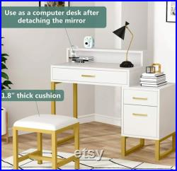 Vanity Table Stool Set with Lighted Mirror White and Gold 3 Drawers Makeup Table