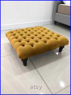 Various Sizes Chesterfield Upholstered Footstool Coffee Table Available In Various Colours and Fabrics