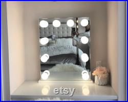 Vertical Large Frameless Mirror with 10 Dimmable Lights 24X30