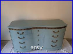 Vintage 1930's Provence Blue Gray Serpentine Dresser by Kent Coffey FREE Shipping Please read