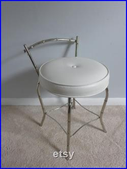 Vintage Chrome Childs Vanity Hollywood Regency Faux Bamboo Metal Dressing Table and Chair Frosted Glass Top Girls Room Desk Kids Furniture