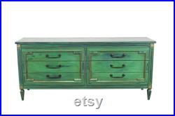 Vintage Mid Century Modern Green Hand Painted Dresser of Six Drawers