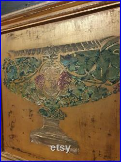 Vintage Painted Pine Armoire Wardrobe with inlaid Peacock Design