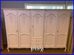 Vintage Painted White 5 door french armoire breakdown wardrobe for easy access