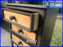 Vintage Style Tall Brown Highboy Dresser Chest Buffet Traditional Boho Shabby Romantic Painted Furniture