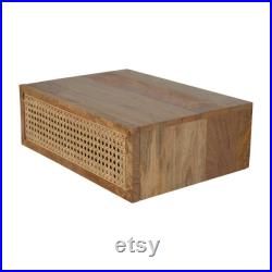 Wall Mount Floating Rattan Drawer Solid Wood Bedside Table In Oak Finish