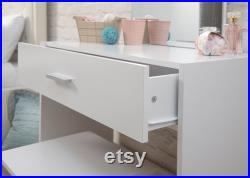 White Dressing Table And Mirror Set Dresser Large Wall Mirror Perfect Storage Modern Vanity Table Quick UK Delivery Flat Packed