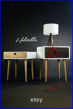 White nightstand Bedside Table, Scandinavian Mid-Century Style with 1 or 2 drawers and legs made of oak wood