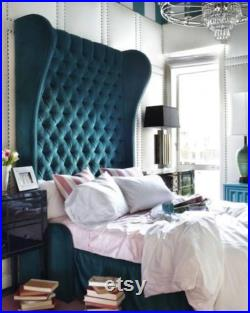 Wingback Bed Tufted Extra Tall Custom Headboard Upholstered Curved Platform Frame Crystal Button California King Queen Full Twin CUSTOM MADE