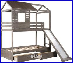 Wood Bunk Bed Frame Twin Over Twin Size House Shaped Bunk Beds with Slide and 2 Storage Drawers, Grey