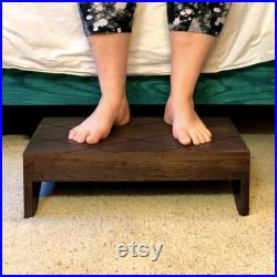 Wood Step Stool Large by CW Furniture Custom Choose Finish Handicapped Elderly Bed Solid Hardwood Kitchen Bathroom Personalized Engraved