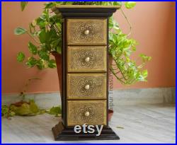Wooden And Brass Drawer Chest, Side Table, End Table, Storage With 4 Drawers, Handmade Indian Ethnic Style