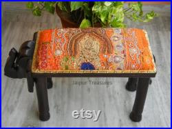 Wooden Elephant Pouffe, Ottoman, Low seat, Stool, Footstool, Chair, Handmade Indian Ethnic Style