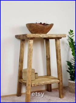 Wooden console, Living room stand, Bedside table, Rustic, Plant Stand, wooden bedside table, primitive bench, console,farmhouse wooden bench
