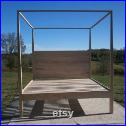 ZCustom Tina CbRnV2b, Full Size, Wormy Maple, Tall Canopy Bed withvertical Head Board and thinner 4 side Tapered Posts at tops, natural color