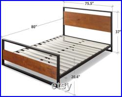 Zinus Suzanne Metal and Wood Platform Bed with Headboard and Footboard Box Spring Optional Wood Slat Support, King