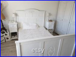 antique bed, oak bed, Art Nouveau, oak, white, carvings, old lacquer, french vintage, brocante, country house furniture