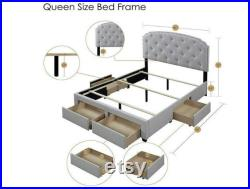tufted upholstered storage bed, queen
